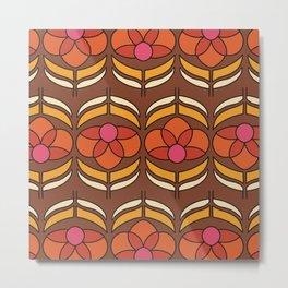 Retro floral 70s wallpaper design Metal Print