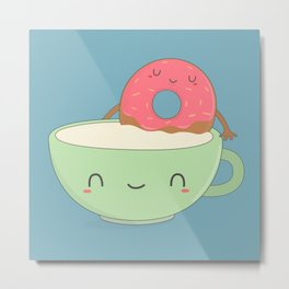 Kawaii Cute Donut and Coffee Metal Print