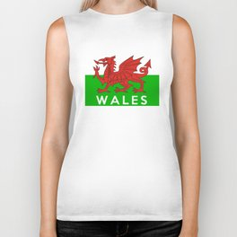 wales country flag name text united kingdom Biker Tank