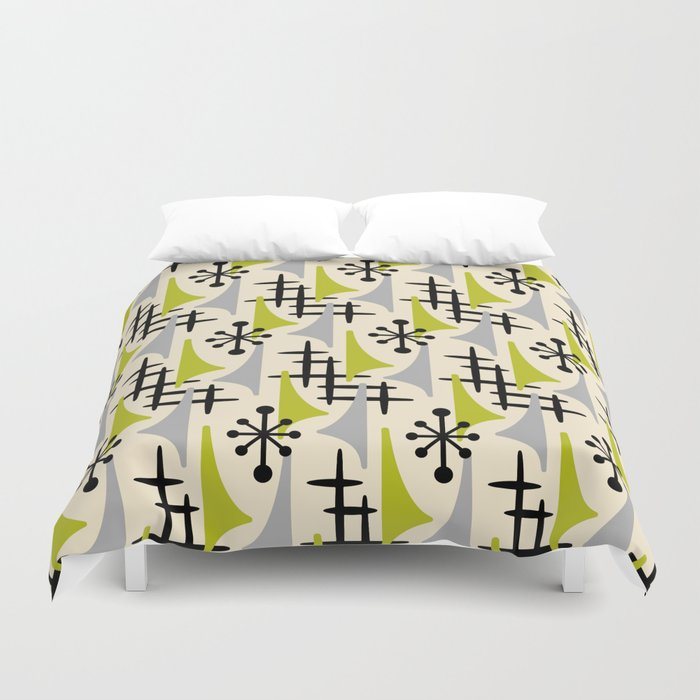 Mid Century Modern Atomic Wing Composition Green & Grey Duvet Cover