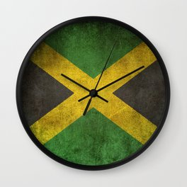 Old and Worn Distressed Vintage Flag of Jamaica Wall Clock