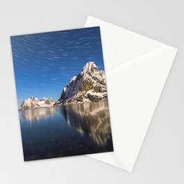Swirling Stars Above Arctic Mountain Landscape Stationery Cards