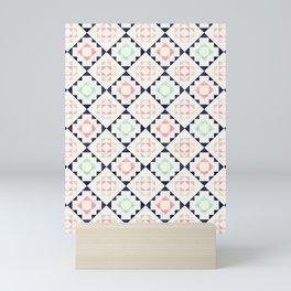 Touch of gold pattern - navy, mint and pink Mini Art Print