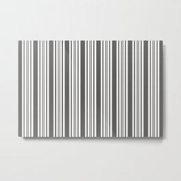 Pantone Pewter Gray & White Wide & Narrow Vertical Lines Stripe Pattern Metal Print