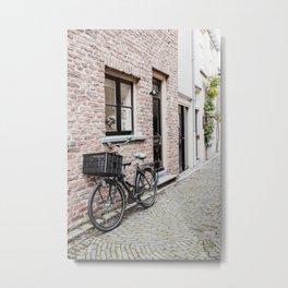 Dutch Bicycle Photo | The Netherlands Photography | Dutch Street Scene Metal Print