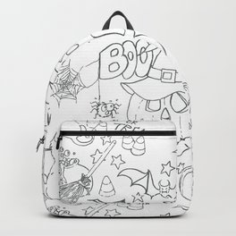 Halloween pattern in black and white Backpack