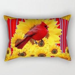 YELLOW SUNFLOWERS RED CARDINAL GREY  ART Rectangular Pillow