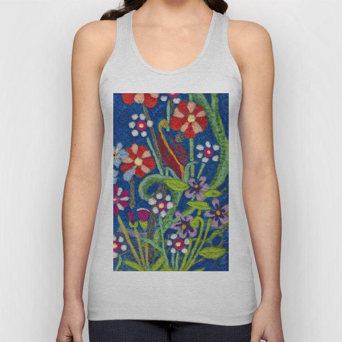 Cozy Felted Wool Flower Garden Unisex Tank Top