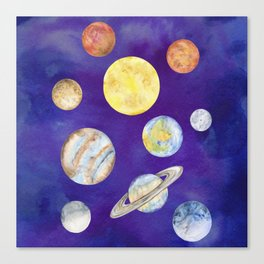 Watercolor Planets Set Illustration Canvas Print