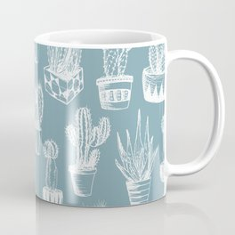 Cactus Pattern Teal Coffee Mug