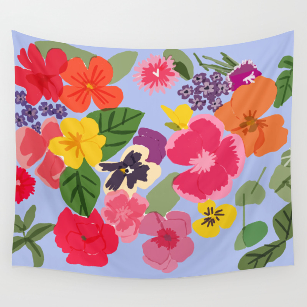 Edible Flowers And Herbs Wall Tapestry by Berriesdesign TPS7269689