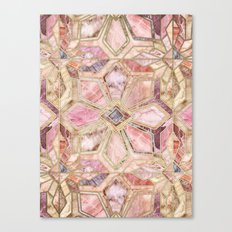 Geometric Gilded Stone Tiles in Blush Pink, Peach and Coral Canvas Print