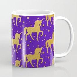 Purple and Gold Unicorn and Stars Pattern Coffee Mug
