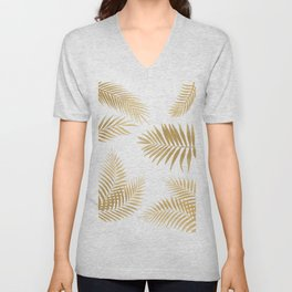 Golden Palm Leaves Unisex V-Neck