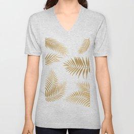 Golden Palm Leaves Unisex V-Neck