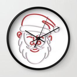Santa Claus Neon Sign Wall Clock