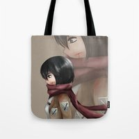 snk Tote Bags featuring I am Strong by Louiology