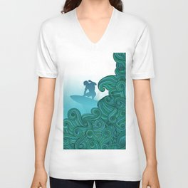 Surfer Dude Hangin Ten Unisex V-Neck