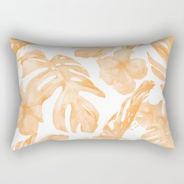 Island Vacation Hibiscus Palm Leaf Coral Orange Rectangular Pillow