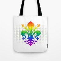 fleur de lis Tote Bags featuring Rainbow Fleur-de-Lis by Cool Prints