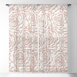 Elegant romantic rose gold roses pattern image Sheer Curtain