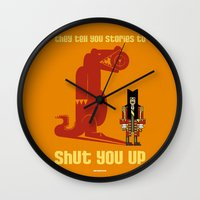 captain hook Wall Clocks featuring HOOK : Huge Hook by SimonCARUSO.com
