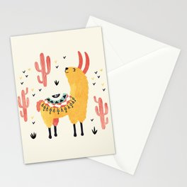 Yellow Llama Red Cacti Stationery Cards