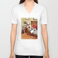 shakespeare V-neck T-shirts featuring Freud analysing Shakespeare by drawgood