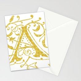 Gold Foil Letter A Stationery Cards