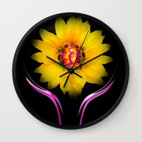 sunflower Wall Clocks featuring Sunflower by Walter Zettl