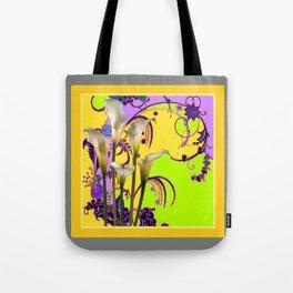 White Calla Lilies Lime-Purple Fantasy Garden Flowers Tote Bag
