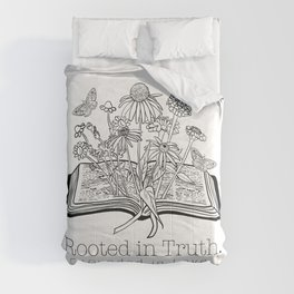Rooted in Truth Grounded in Love Colossians Open Bible Spring Flowers and Butterflies Line Art Boho Illustration For Christian Moms Comforters