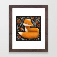 FOX & FLOWERS Framed Art Print
