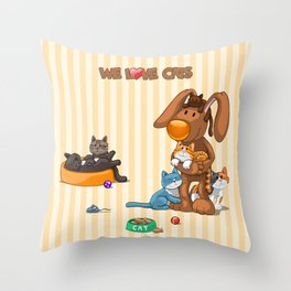 Rabbit catlover Throw Pillow