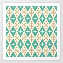 Mid Century Modern Atomic Triangle Pattern 105 Art Print