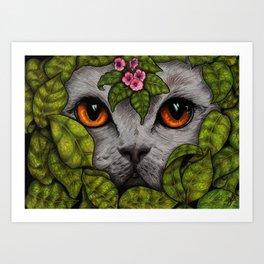 Grey Cat Orange Eyes Green Leaves Art Print