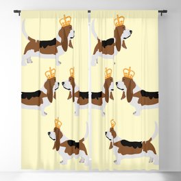 Crowned Basset Hound Dog Blackout Curtain