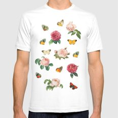Las Rosas & Mariposas MEDIUM Mens Fitted Tee White