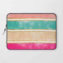 Modern Stripes Pink Red Watercolor Gold Glitter Laptop Sleeve