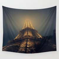 eiffel tower Wall Tapestries featuring Eiffel Tower  by cchelle135