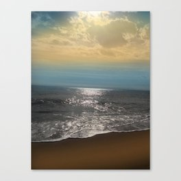 Golden Sky Over The Ocean Canvas Print