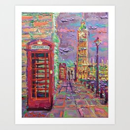 London City Life - palette knife abstract urban city streets architecture Big Ben Art Print