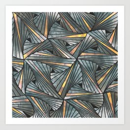 Mesh (Grey and Copper) Art Print