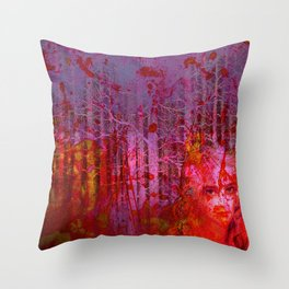 The clearing of the bloodthirsty witch Throw Pillow