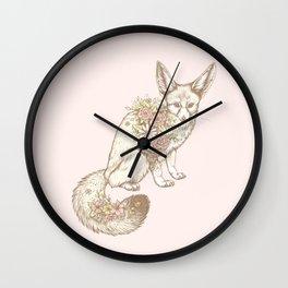 Floral Fennec Fox Wall Clock