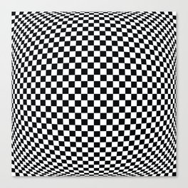 op art - black and white checks bulge Canvas Print