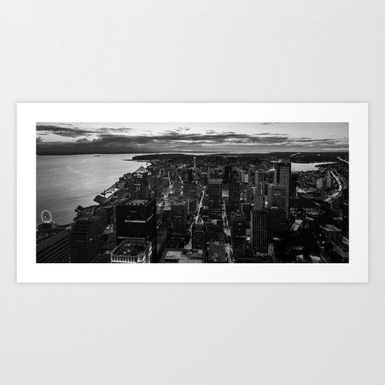 Black and White Seattle - Washington Art Print
