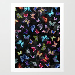 Butterfly Forest {black} Art Print