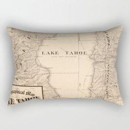 Vintage Map of Lake Tahoe Calfornia (1874) Rectangular Pillow