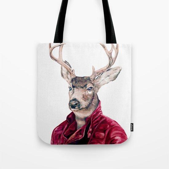 Deer In Leather Tote Bag